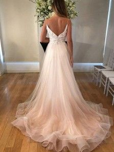 » Cute Cap Sleeves Long Chiffon Split Beach Wedding Dresses 2018 With Lace Appliques WD0033