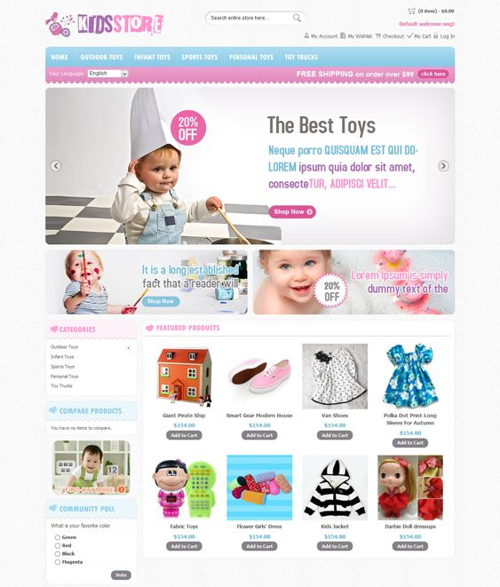 This Magento theme for kids offers custom blocks and pages, 4 different layout options, easy customization, support for multiple languages and stores, cross-browser compatibility, speed optimization, and more.