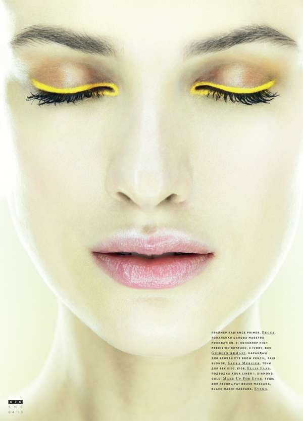 Accentuated Eye Shadow Editorials - The Come Closer SnC Beauty Story Highlights Vivid Eye Makeup (GALLERY)