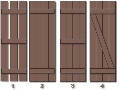 "decorative house shutters with designs | Standard Closed with ""Z"" Bar Option"