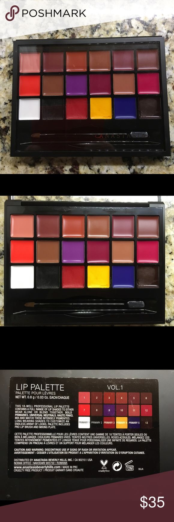 Authentic Anastasia Beverly Hills lip pallet This 18-well professional Lip Palette contains a collection of lip shades ranging from primaries and neutrals to bold brights. Shades feature rich, intense pigment with a long-wearing, matte finish. Wear alone or mixed together for an endless array of looks. Only the black, red, yellow and brown were nearly used. In excellent condition. Anastasia Beverly Hills Makeup Lipstick