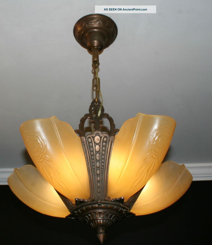Antique Vintage 5 Light Slip Shade Art Deco Light Fixture Ceiling Chandelier  Photos and Information in AncientPoint170 best Slip Shade Chandeliers images on Pinterest   Art deco  . Art Deco Lighting Fixtures Chandeliers. Home Design Ideas