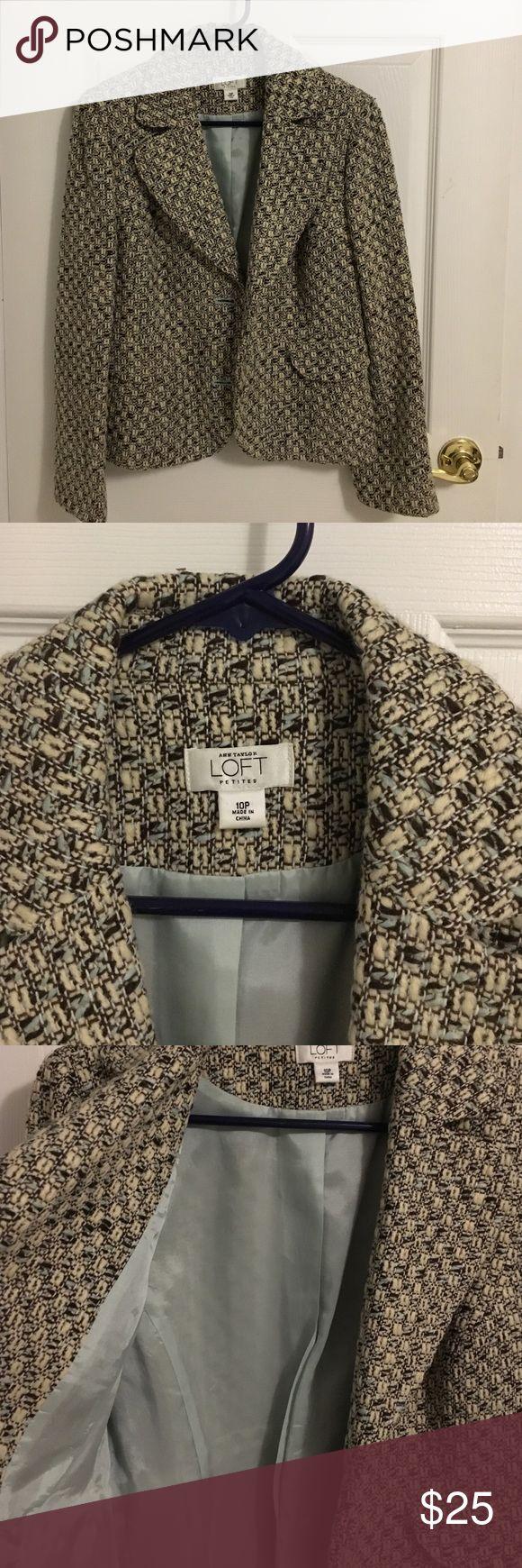 Anne Taylor Loft 10P blazer Light blue tan and brown Ann Taylor loft petite blazer Ann Taylor Jackets & Coats Blazers