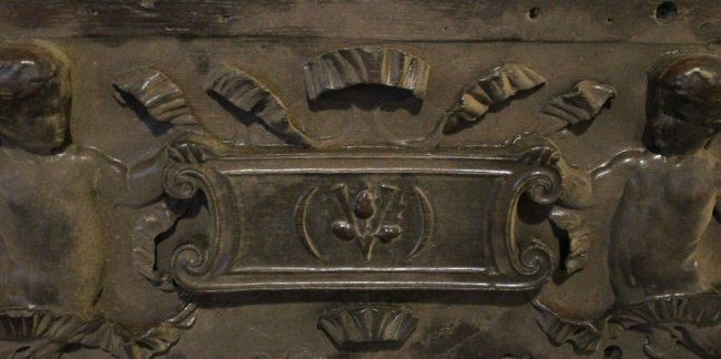 """Carved oak figure moulding, from Cornelius Vanderbilt 11 Gilded Age NYC mansion, which was located at: 1 West 57th St. & 5th Ave. in NYC, before demolition of the mansion in c.1927. The """"V"""", for Vanderbilt is evident in the center of the carving. ~ {cwl} ~  (Via: Live Auctioneers)"""