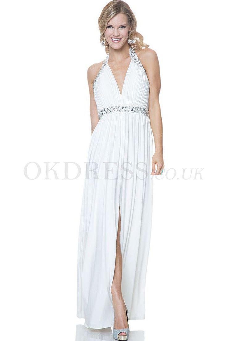 Sexy Design Halter Sheath Long Ivory Prom Dresses - by OKDress UK