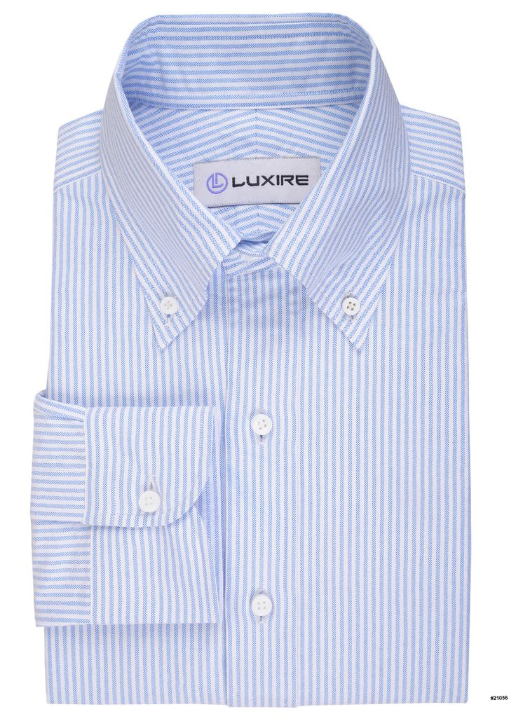 Light Blue University Stripes Oxford A striped shirt is a timeless classic. Features: Button-down collar, 1-button cuff and center back pleat.