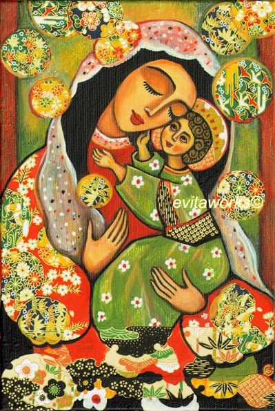 Icon Religious Painting Folk Art Mary and Jesus Nativity - Madonna and Child - Art Print 13x19. $26.00, via Etsy.