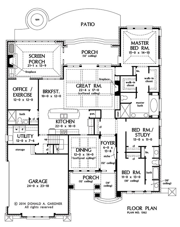 First Floor Plan Of The Eliana   House Plan Number 1362 Three Bedroom With Formal  Dining Room, Office Or Exercise Room, Screen In Porch, Bonus Room Above ...