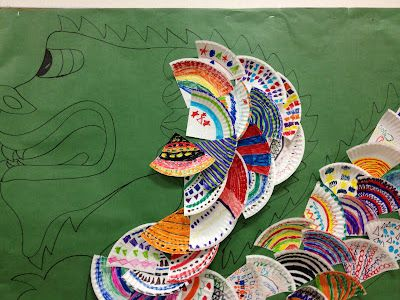 Chinese New Year Dragon bulletin board idea with paper plates