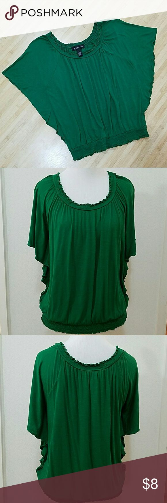 INC International Concepts Green Batwing Top INC International Concepts Top Vibrant Green Elasticized Ruching at hemlines have stretchiness and fit loosely, not binding Flutter batwing type sleeve 100% Rayon Size Petite Small EUC no stains, holes, pilling or other damage INC International Concepts Tops Blouses