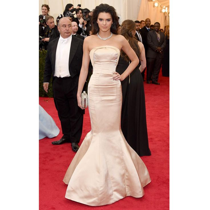 New Elegant Evening Dresses Mermaid 2016 Kendall Jenner Cannes Film Celebrity Dress Strapless Long Champagne Satin Prom Gowns