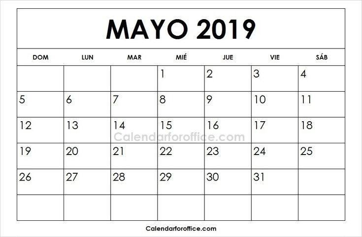 May 2019 Calendar Spanish 2019 Calendar 2021 Calendar Calendar