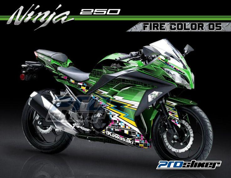 Striping Motor Ninja 250 fi hijau full body motif grafis fire color 05