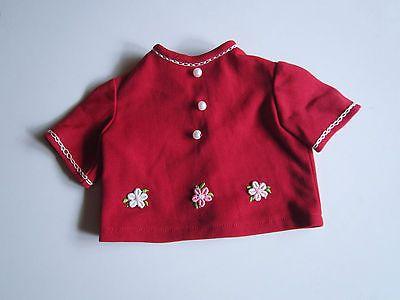 Schoene-alte-Puppenkleidung-Niedliche-rote-Bluse-Kunstfaser
