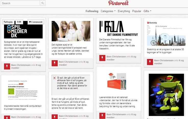 Pinterest er en side, hvor du kan samle alle dine links til sider, som du vil have overblik over. Man lægger billeder ind fra siden og kan beskrive indholdet. Ens pinterest kan deles med andre, hvis man inviterer dem.