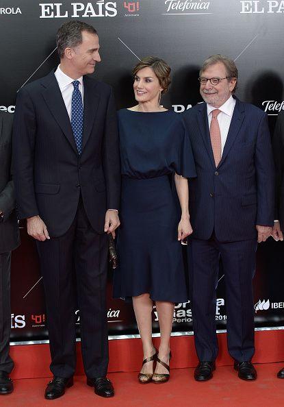 (L-R) King Felipe VI of Spain, Queen Letizia of Spain and Juan Luis Cebrian attend the El Pais 40th anniversary dinner and 'Ortega y Gas...