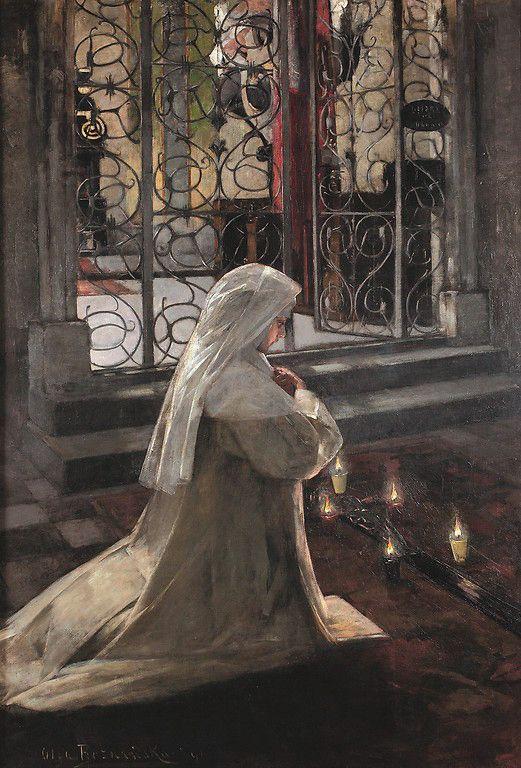 Olga Boznańska <em>W Wielki Piątek (Zakonnica modląca się w kościele)</em> | 1890, <br /> olej na płótnie, 240 × 158 cm, Bazylika Mariacka w Krakowie, Fot. Paweł Gąsior