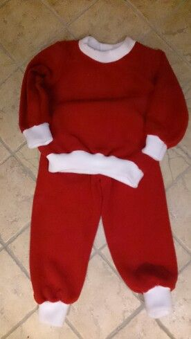An easy pj pattern from mcCalls and some red and white polar fleece made the perfect outfit for Christmas party in daycare.