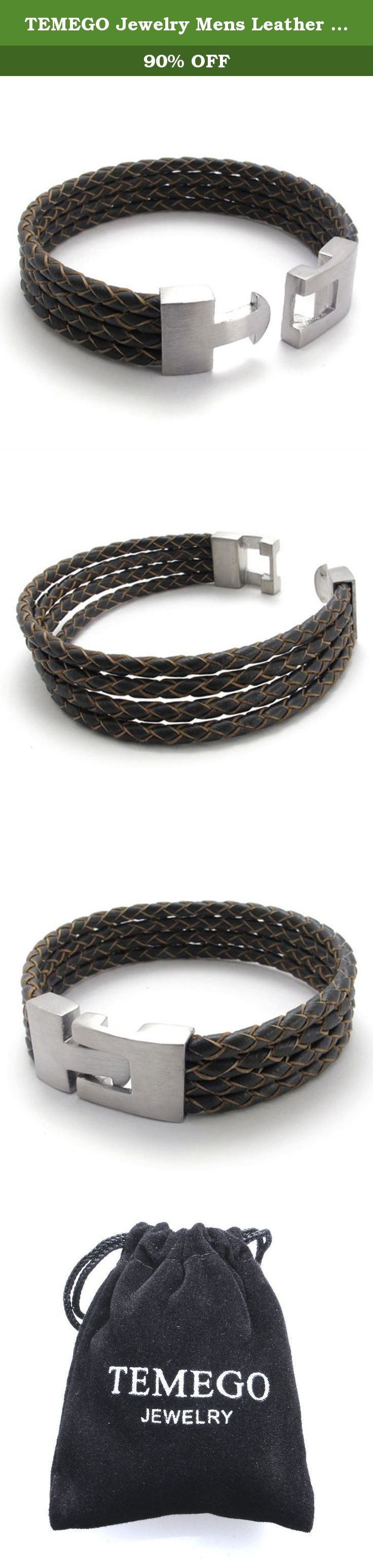 """TEMEGO Jewelry Mens Leather Braided Bracelet,Stainless Steel Clasp,Brown-8"""". Stainless Steel Jeweley has gained increasing popularity in men's jewelry. It does not tarnish and oxidized, which can last longer than other types of jewelry. Stainless steel jewelry has an amazing property of anti-allergice since they are often made without nickel."""