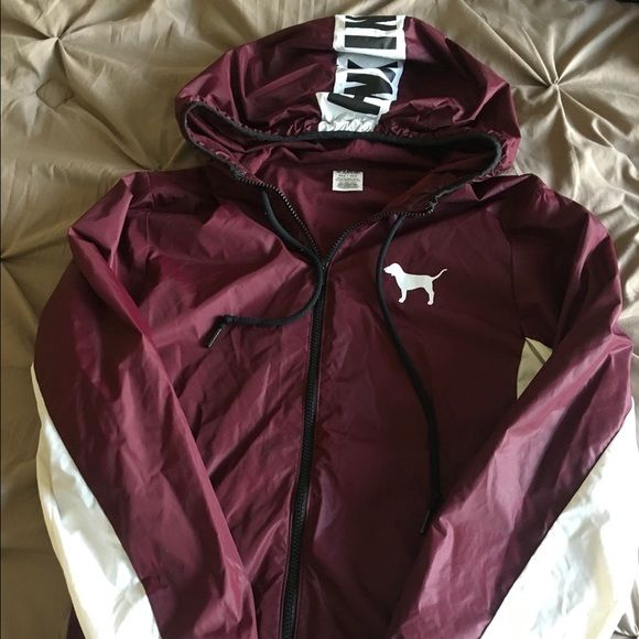 PINK Victoria secret wind breaker Wind breaker of VS PINK! Only wore a few times, maroon color. Super nice and will keep you warm from the wind! PINK Victoria's Secret Jackets & Coats Utility Jackets