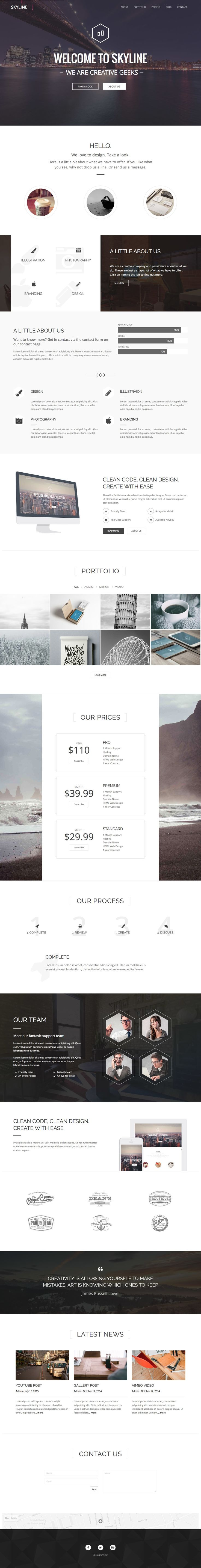 'Skyline' is a multi-page WordPress theme with a One Page layout option for a…