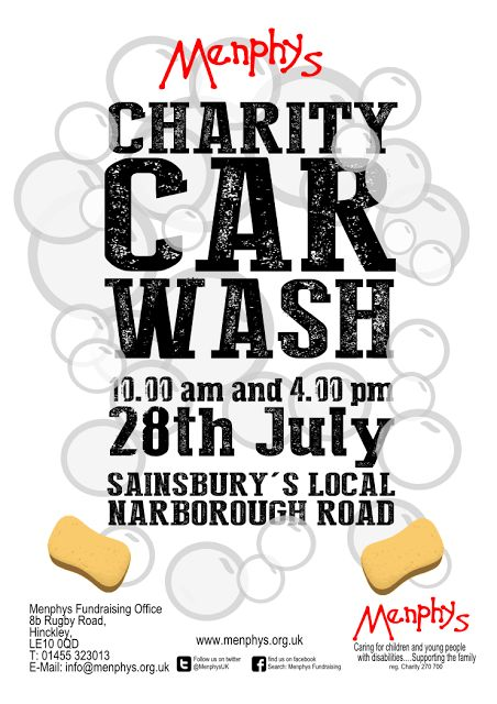 a poster designed for a charity car wash at sainsburys local narborough road store in aid