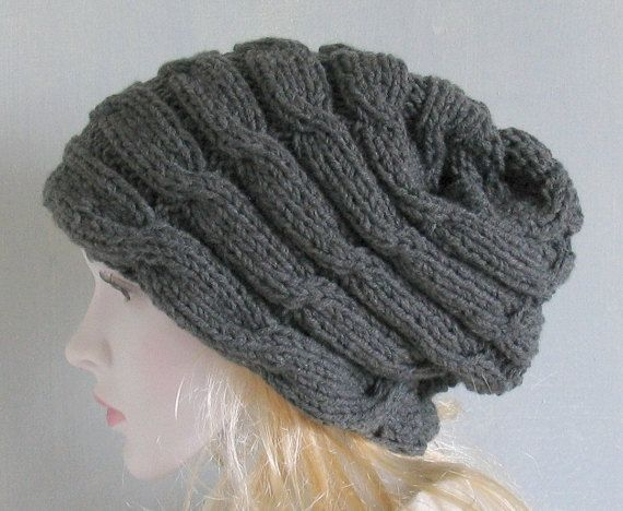 Hand knitted ladies slouchy beanie hat available Women Knit