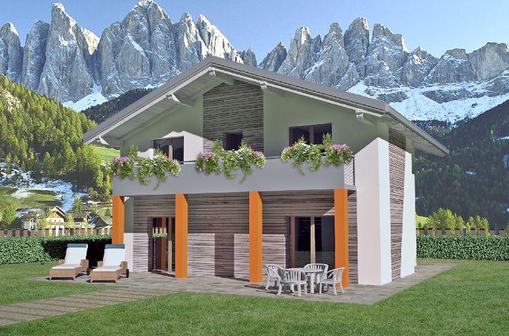 L'ampia veduta sul giardino, al quale si accede direttamente dal soggiorno, offre una sensazione di assoluta libertà. La facciata presenta inserti in legno