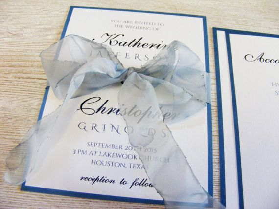 Niagara Blue Wedding Invitation with Watercolor by HandMadeowo