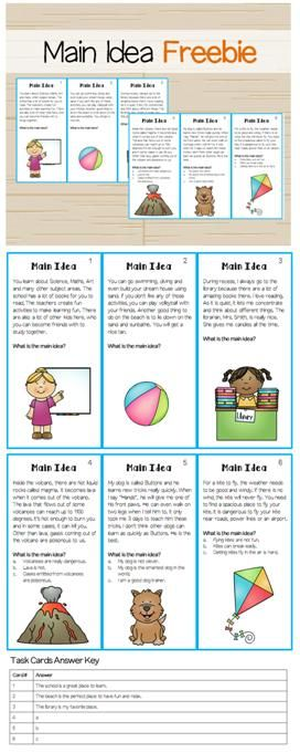 "Main Idea Task Cards Freebie! ....Follow for Free ""too-neat-not-to-keep"" teaching tools & other fun stuff :)"