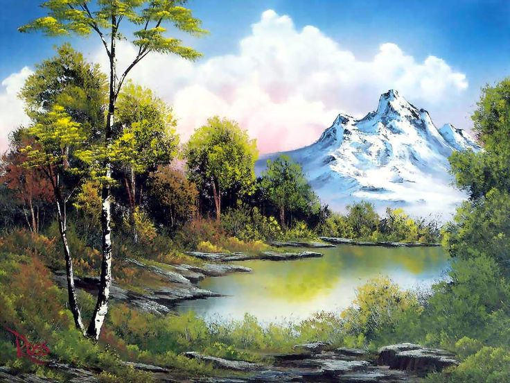 Bob Ross - a more detailed landscape done in the Bob Ross style - nice - MReno