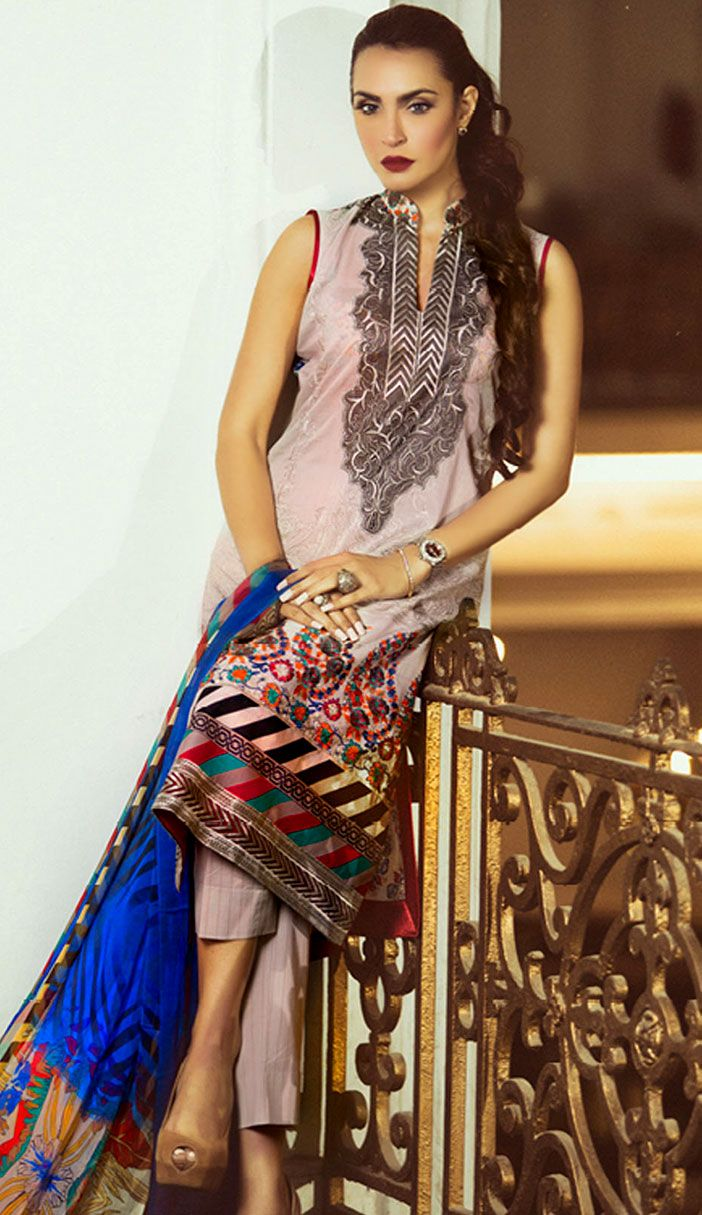 Grey Embroidered Cotton Lawn Dress