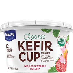 We've strained our kefir into a tart, tangy, spoonable snack served in a convenient 5oz cup. Try our protein-packed Strawberry Rosehip Organic Kefir Cup!