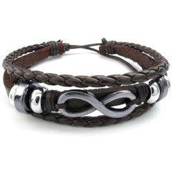 Distinctive KONOV Men's leather infinity bracelet