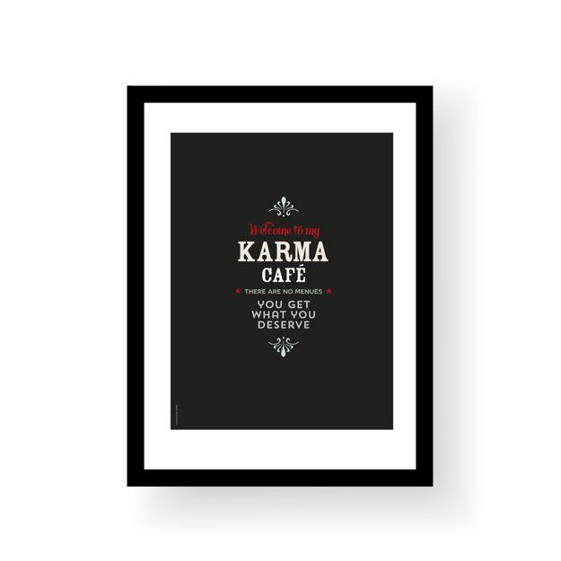 "Morsom plakat i vintage stil.""Welcome to my karma café - there are no menues - you get what you deserve"".Format 30 x 40 cmTrykket på 250 ubestrøket papirLeveres uten ramme.Funny vintage style poster.""Welcome to my karma café - there are no menues - you get what you deserve"".Poster size 30 x 40 cmPrinted on 250 g uncoated paperSold without frame."