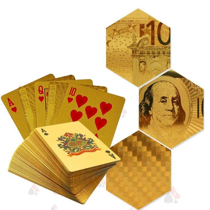 Golden Playing Cards Gold Foil Poker Set Euro Dollar Grid Gold Plastic foil Durable Waterproof Cards