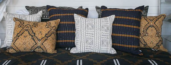 Mud cloth, antique Batik and ash-oke scatter cushions