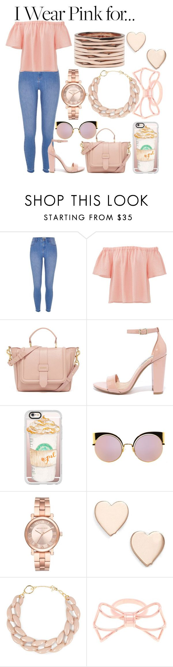"""Pink pride"" by emilia-love-life ❤ liked on Polyvore featuring River Island, Rebecca Taylor, Steve Madden, Casetify, Fendi, Michael Kors, Poppy Finch, DIANA BROUSSARD, Ted Baker and Repossi"