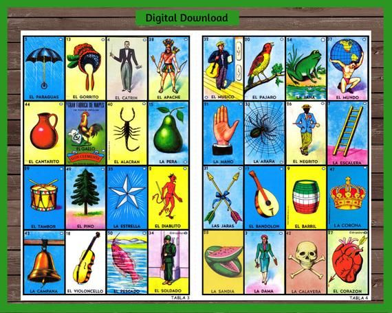30 Loteria Cards Digital File Instant Download Cartas De Loteria Mexicana Cartas De Loteria Loteria Mexicana Cartas