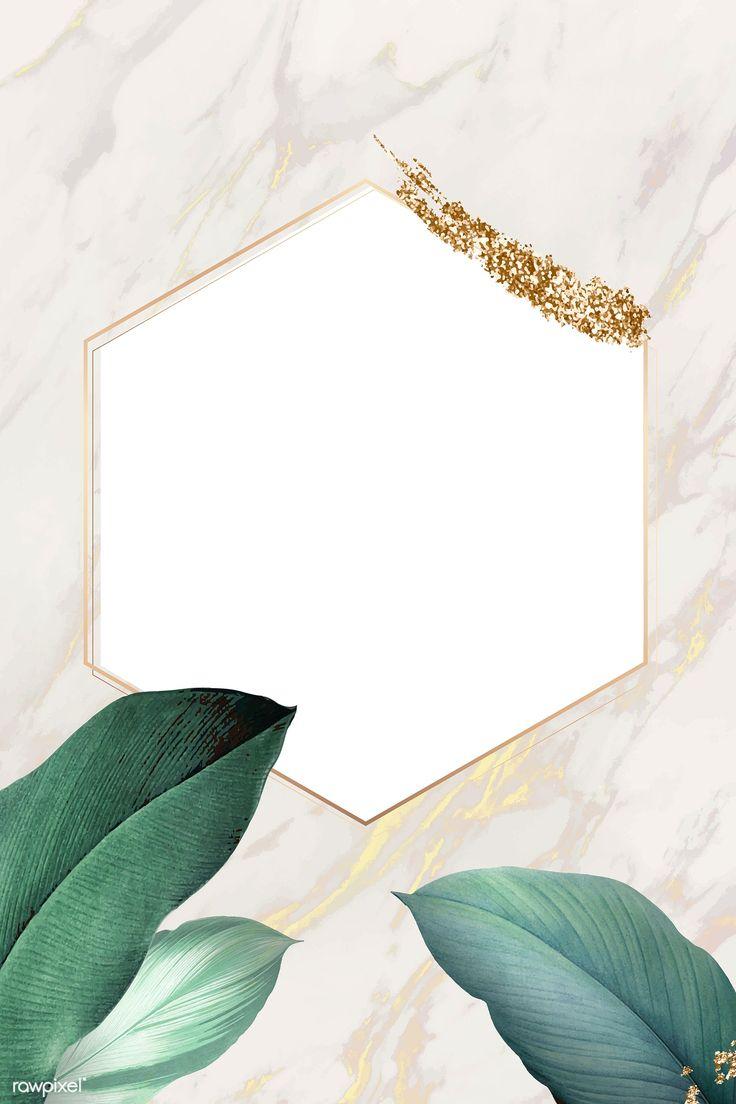 Download Premium Vector Of Hexagon Foliage Frame On White