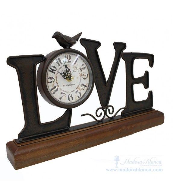 Reloj Mesa LOVE Madera Blanca