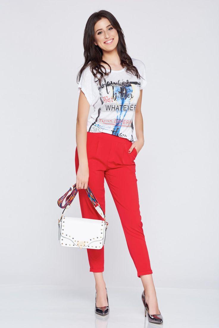 Comanda online, Pantaloni casual conici rosii cu elastic in talie. Articole masurate, calitate garantata!