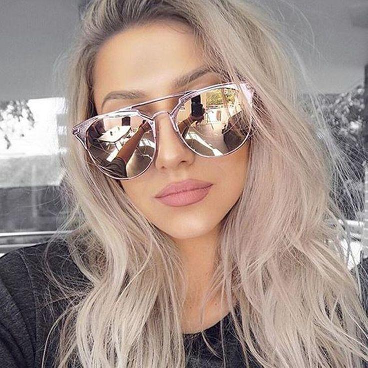 DOLCE VISION Ladies Round Aviator Sunglassees Women Pink Mirror 2017 Sun Glasses For Women Luxury Brand Designer Shades Oculos