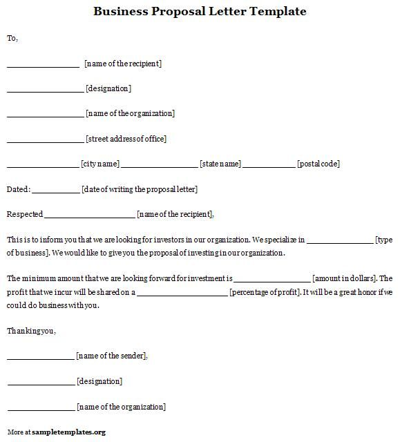 proposal letter template word