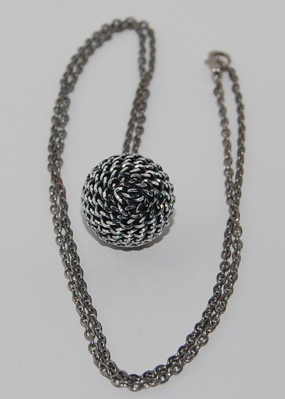 Disco ball silver pendant upcycled necklace by silverwireandgems on Etsy