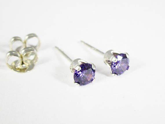 Gemstone Stud Earrings Sterling Silver Studs Amethyst CZ