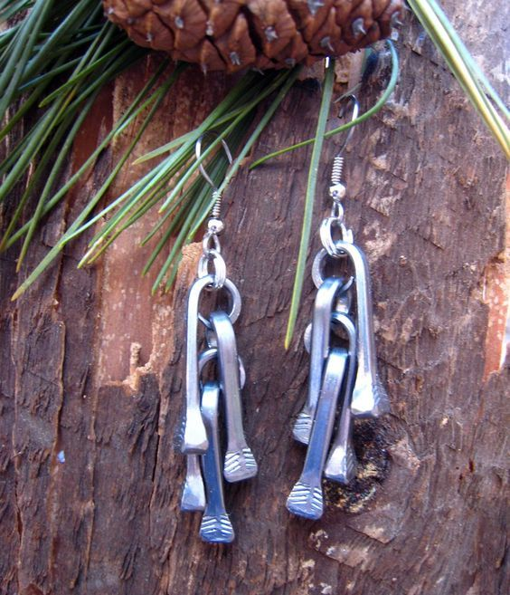 Equestrian Jewelry, Mythical, Metal, Horseshoe Nail Earrings (HNE005S). $15.00, via Etsy.: