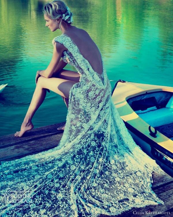 Greek fashion designer Celia Kritharioti silk lace cowl back stunning wedding gown ~ Law and Fashion -Criminal Intent-