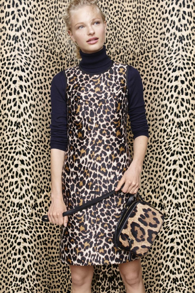 J.Crew the leopard-print shift dress #animalprint #bag #turtleneck