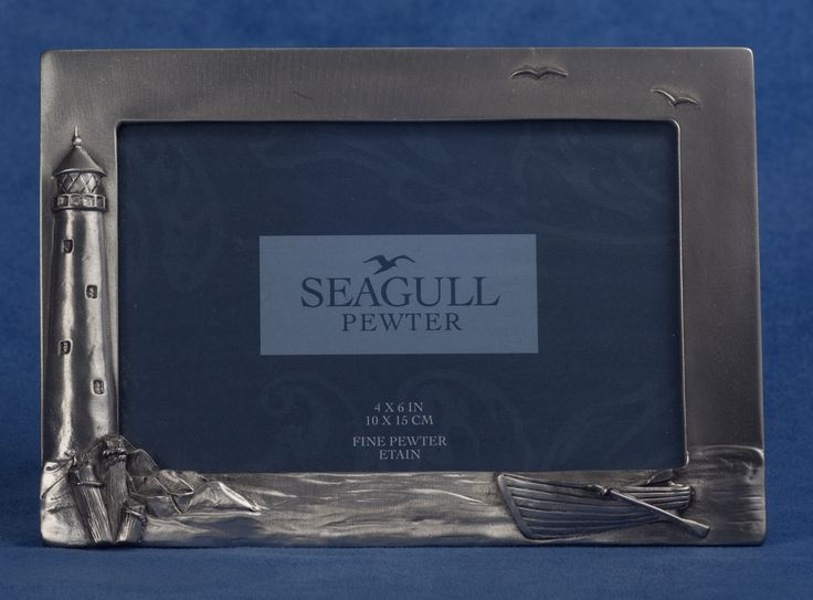 Seagull Pewter Picture Frame -- Lighthouse Theme, dated 1991.